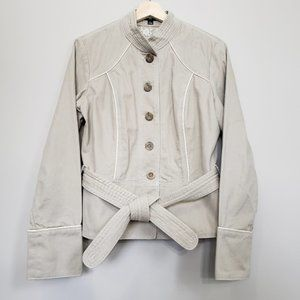Military Cargo Style Button-Up Belted Cream Jacket